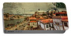 stylish retro postcard of Porto Portable Battery Charger