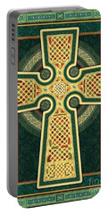 Stylized Celtic Cross In Green Portable Battery Charger