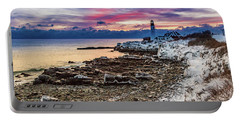 Subtle Sunrise At Portland Head Light Portable Battery Charger