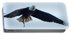 Portable Battery Charger featuring the photograph Successful Bald Eagle Panoramic by Jeff at JSJ Photography