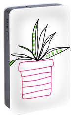Portable Battery Charger featuring the mixed media Succulent In A Pink Pot- Art By Linda Woods by Linda Woods