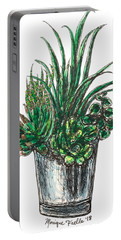 Portable Battery Charger featuring the painting Succulents by Monique Faella