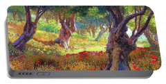 Tranquil Grove Of Poppies And Olive Trees Portable Battery Charger