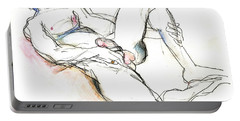 Portable Battery Charger featuring the mixed media Suffering Is Optional - Male Nude  by Carolyn Weltman