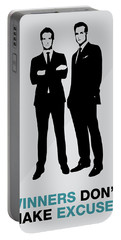 Suits Tv Show Poster Harvey Quote - Winners Don't Make Excuses Portable Battery Charger