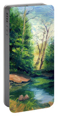 Summer At Storm Portable Battery Charger by Gail Kirtz