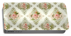 Summer At The Cottage - Vintage Style Damask Roses Portable Battery Charger