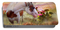 Portable Battery Charger featuring the mixed media Summer Blooms by Carol Cavalaris