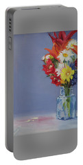 Portable Battery Charger featuring the painting Summer Bouquet by Jane Autry