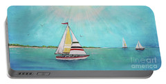 Portable Battery Charger featuring the painting Summer Breeze-b by Jean Plout