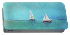 Portable Battery Charger featuring the painting Summer Breeze-e by Jean Plout