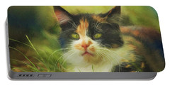 Portable Battery Charger featuring the photograph Summer Cat by Jutta Maria Pusl