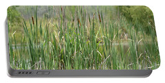 Portable Battery Charger featuring the photograph Summer Cattails by Maria Urso