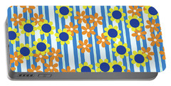 Summer Floral Stripes Blue Yellow Orange Flowers Portable Battery Charger