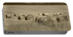 Summer Harvest Field With Hay Bales In Sepia Portable Battery Charger