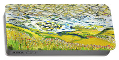 Portable Battery Charger featuring the painting Summer In The Wild by Evelina Popilian