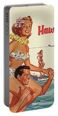 Summer Joys In Hawaii, Airline Poster Portable Battery Charger