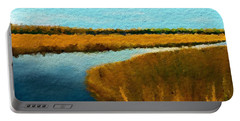 Portable Battery Charger featuring the digital art Summer Marsh South Carolina Lowcountry by Anthony Fishburne