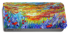 Portable Battery Charger featuring the painting Summer Meadow by Teresa Wegrzyn