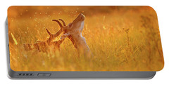 Summer Mood - Fallow Deer On A Summer Evening Portable Battery Charger