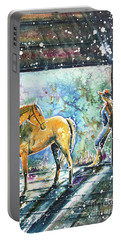 Portable Battery Charger featuring the painting Summer Morning At The Barn by Zaira Dzhaubaeva