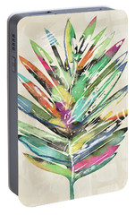 Portable Battery Charger featuring the mixed media Summer Palm Leaf- Art By Linda Woods by Linda Woods