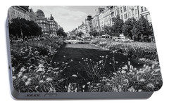 Portable Battery Charger featuring the photograph Summer Prague. Black And White by Jenny Rainbow