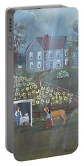 Portable Battery Charger featuring the painting Summer Rain by Virginia Coyle
