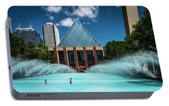 Portable Battery Charger featuring the photograph Summer Splash Downtown Edmonton by Darcy Michaelchuk