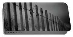 Portable Battery Charger featuring the photograph Summer Storm Beach Fence Mono by Laura Fasulo