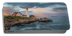 Summer Sunset At Portland Head Light Portable Battery Charger