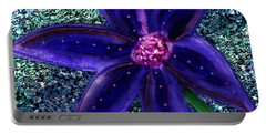 Portable Battery Charger featuring the digital art Summer's Blue Flower by Iowan Stone-Flowers