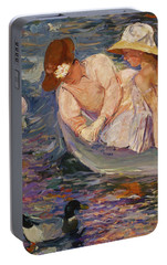 Portable Battery Charger featuring the painting Summertime By Mary Cassatt 1894 by Movie Poster Prints