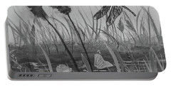 Portable Battery Charger featuring the painting Summertime Dragonfly Black And White by Robin Maria Pedrero