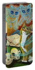 Portable Battery Charger featuring the painting Summoning Old Friends - Ghost Cats Magic by Carrie Hawks