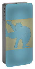 Portable Battery Charger featuring the painting Sumo Wrestler In Blue by Ben Gertsberg