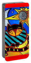 Sun And Moon - Honourable Cat - Art By Dora Hathazi Mendes Portable Battery Charger