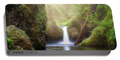 Sun Beams Over Punch Bowl Falls Portable Battery Charger