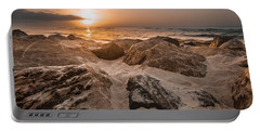 Sun Coming Over The Rocks  Portable Battery Charger