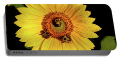 Sunflower And Bees Portable Battery Charger by Nancy Landry