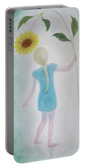 Portable Battery Charger featuring the painting Sun Flower Dance by Tone Aanderaa