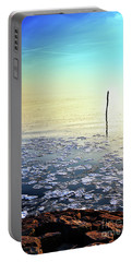 Sun Going Down In Calm Frozen Lake Portable Battery Charger