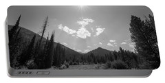 Sun Rays In Yellowstone Bw Portable Battery Charger