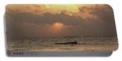 Sun Rays On The Water With Wooden Dhows Portable Battery Charger