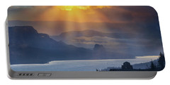 Sun Rays Over Columbia River Gorge During Sunrise Portable Battery Charger