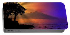 Portable Battery Charger featuring the photograph Sun Rays Sunset by Lori Seaman