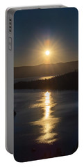 Sun Rising Over Lake Tahoe Portable Battery Charger