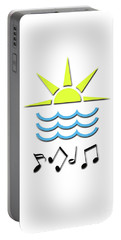 Portable Battery Charger featuring the digital art Sun, Sea And Music by Linda Prewer