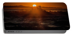 Sun Setting Behind Santa Cruz Island Portable Battery Charger