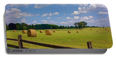 Portable Battery Charger featuring the photograph Sun Shone Hay Made by Byron Varvarigos